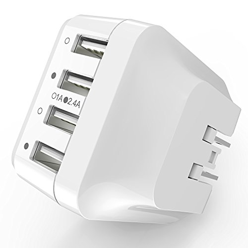 USB Wall Charger Plug Syncwire -34W 4-Port Fast Charger with US UK EU Travel Adapter for Apple iPhone 7 / 6s / Plus / 6 / 5 / SE / 4S / 4, iPad, iPod, Samsung Galaxy S8 S7 S6 Edge, Note 5 & more-White