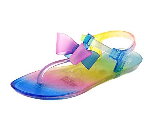 Luckers Girl Cinderella Tie-Die Jelly Bows T Strap Sandals (2M US Little Kid) (Cinderella Shoes Kids)