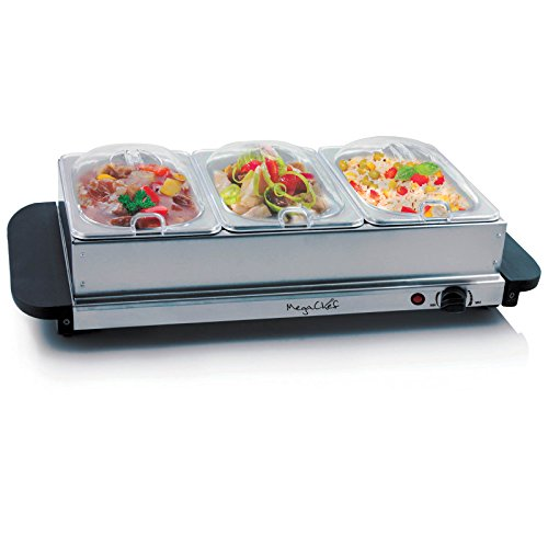 MegaChef Buffet Server & Food Warmer w/ 3 Removable Sectional Trays Deal (Large Image)