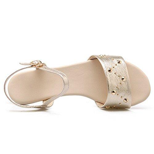 Femmes RAZAMAZA Sandals Bout Ouvert Mode Gold Plates qqwr8On6H