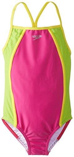Speedo Big Girls' Mesh Thin Strap One Piece Swimsuit, New Blush, 12