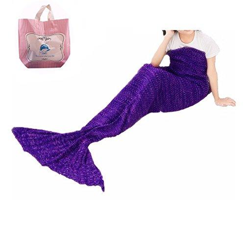FYHAP Mermaid Blanket, Mermaid Tail Blanket Soft All Seasons for Kids,Sofa Quilt Living Room Super Sleeping Bags (Kids Purple) ()