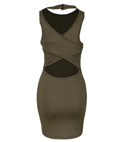Hollow Dress Color Fit Women Club Army Pure Green Simplicity Flexible Bodycon Coolred Sexy wxYHpxv