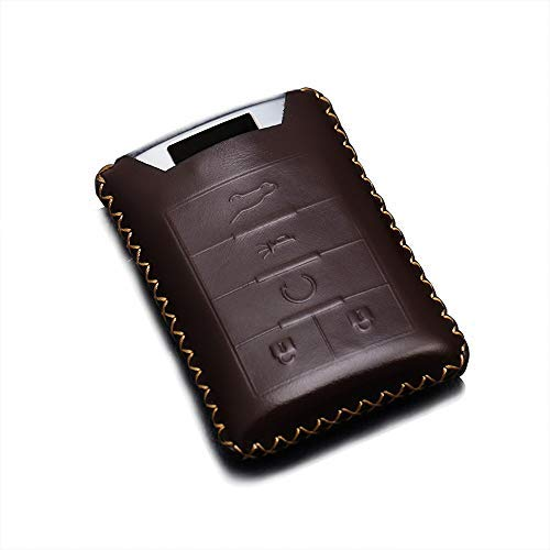 (REGEM for Cadillac Coffee Premium Leather Car Key Chain Cover Cadillac DTS CTS STS XTS ATS SRX Escalade 5 Buttons (Coffee))