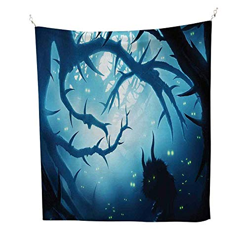 Mystic Decorbeach Tapestry Wall hangingAnimal with Burning Eyes in Dark Forest at Night Horror Halloween Illustration 70W x 93L inch Dorm Room tapestryNavy White