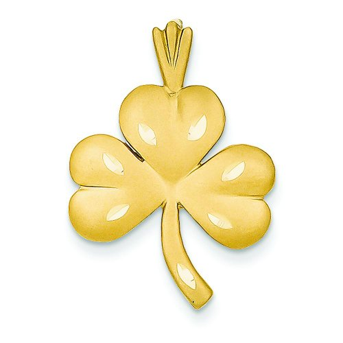 14K Yellow Gold Shamrock Charm Pendant FindingKing