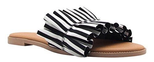 Cambridge Select Women Open Teen Ruche Backless Slip-on Slide Sandaal Zwart / Wit