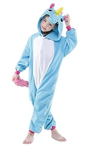 Newcosplay Homewear Childrens Unicorn Pajamas Sleeping Wear Animal Onesies Cosplay Costume (105#, Unicorn Blue)