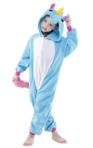 Newcosplay Childrens Pajamas Sleeping Wear Animal Onesies Cosplay Homewear Costume (125#, Unicorn Blue)