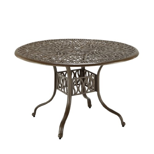 Home Styles Floral Blossom Round 48-inch Taupe Outdoor Patio Dining Table Constructed of Cast Aluminum with Taupe Powder Finish, Hand Applied Gold Specking and Protective Clear Coat on Decorative Table Top