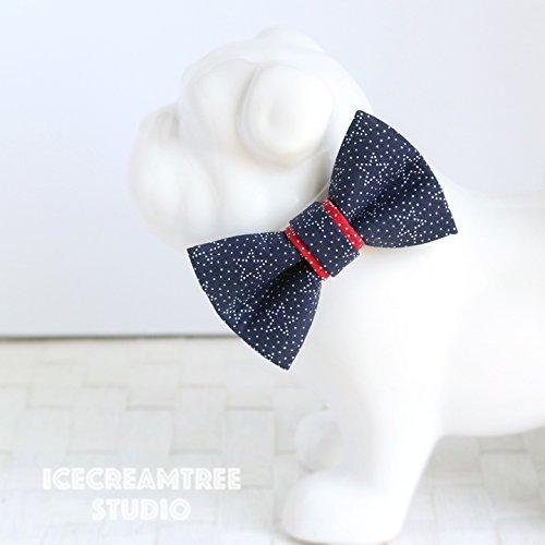 Navy Star - Bow Tie Collar Slide On, Collar Add On Bowtie, Bow Collar Accessories