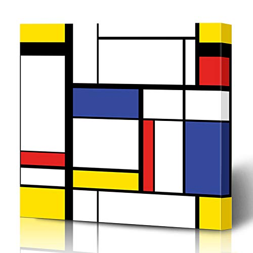 Ahawoso Canvas Prints Wall Art 12x16 Inches Red Blue Artistic Abstract Modern Painting Mondrian Cubism Hipster Avant Garde Bauhaus Black Color Design Decor for Living Room Office Bedroom