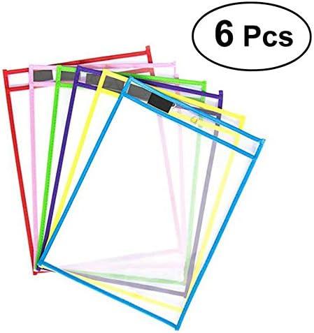6 Stücke Dry Erase Taschen Wiederverwendbare Kunststoff Blatt Ärmel Transparent PVC Schreiben Wischen Lehrmittel mit Radiergummi und Stifte für Büro Lernen Klassenzimmer
