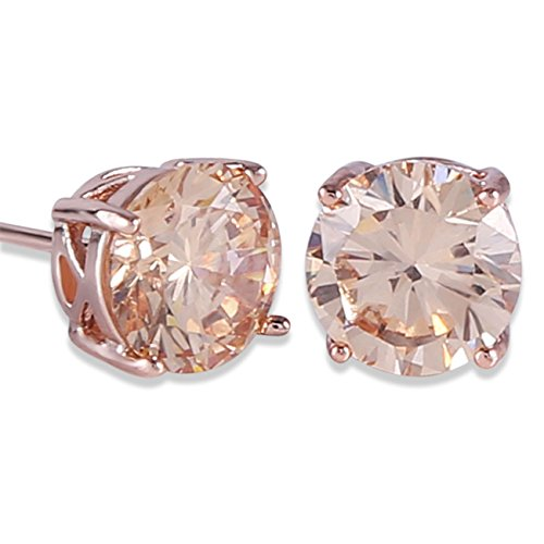 (GULICX Rose Gold Tone Yellow Crystal Royal Journey Jewelry Eternity Stud Earring)