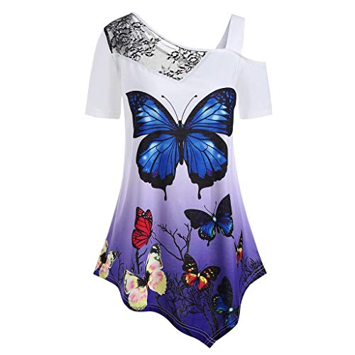 Women's Tops Short Sleeve Butterfly Print Plus Size Lace Panel T-Shirt Blous Purple