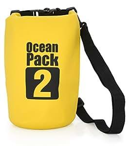MyGadget Bolsa Seca / Dry Bag / Bolsa estanca 2L - Protección Frente al Agua, Humedad, Nieve - Mochila Impermeable para Viajes, Kayak, Surf - Amarillo
