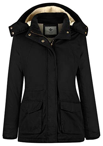 - WenVen Women's Outdoor Windbreaker Cotton Hooded Jacket (Black,Small)