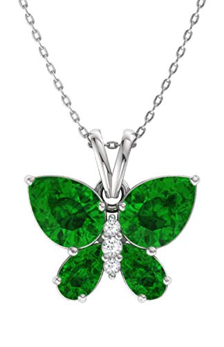 (Diamondere Natural and Certified Emerald and Diamond Butterfly Petite Necklace in 14k White Gold | 1.04 Carat Pendant with Chain)