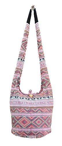 Thai Hippie Hobo Sling Crossbody Shoulder Bag Purse Handmade Zip Ethnic Elephant Cotton Gypsy Boho Messenger Medium (M086) by Pada Craft Shop