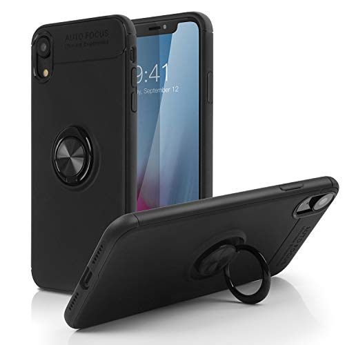 iPhone Xs Max Case,SQMCase Heavy Duty Durable Soft TPU Protective Case with 360 Degree Rotation Ring Kickstand [Work with Magnetic Car Mount] for Apple iPhone Xs Max (6.5) - Black