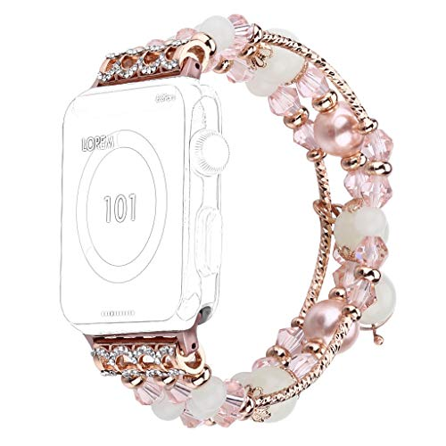 for Apple Watch Bracelet Band,Handmade Beaded Wrist Bands Strap with Fluorescent Pearls for Women- Series 4,3,2,1 (Free Size, PK) ()