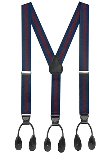 Navy Regimental - Hold'Em Suspender for Men Made in USA Y-Back Genuine Leather Trimmed button end tuxedo suspenders Many colors and designs - Striped Regimental Navy (Tall 54