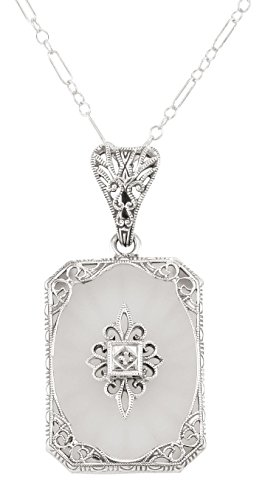 Frosted Crystal Camphor Glass Filigree Diamond Pendant Sterling Silver ()