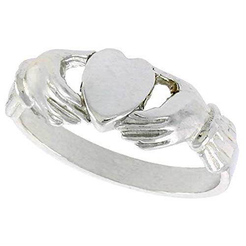 Sterling Silver Fenian Claddagh Ring without Crown 1/4 inch wide, size (Crown Claddagh Ring)
