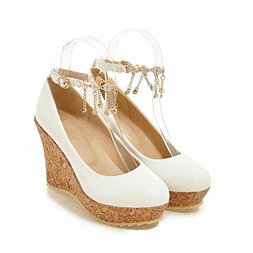 Mee Shoes Damen Keilabsatz Ankle Strap Quasten Pumps Weiß