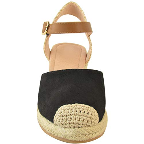 Heelberry Artificial Cuña Alpargatas Tiras Thirsty Sandalias De Ante Mujer Baja Verano Negro Talla Por Nuevo Fashion Zapatos Tacón wg6Tt