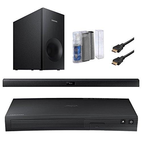 Samsung SBD-J5100 Curved Blu-ray CD DVD Player - Bundle With 2.1 Channel 120 Watt Wireless Soundbar Speaker + LCD Flat Screen / Keyboard Eraser Cleaning Kit + 2x High Speed 1080p 6-Feet HDMI Cables