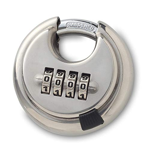 (Mergood S304 Stainless Steel 4 Digit Combination Disc Padlock with Hardened Steel Shackle Silver Lock)