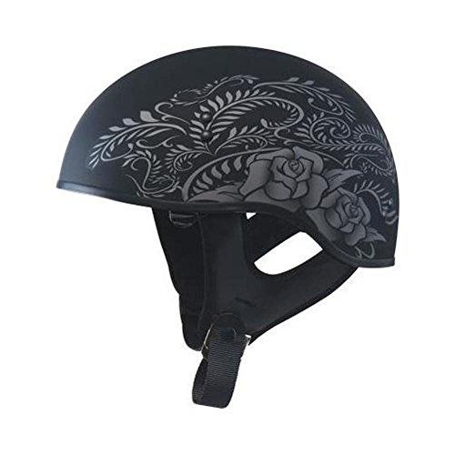 GMAX GM65 Naked Mens Half Face Street Motorcycle Helmet - Flat Black/Silver Small