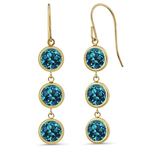 Gem Stone King 3.3 Ct 3 Round London Blue Topaz Stones 14K Yellow Gold Bezel 1inches Dangle Earrings