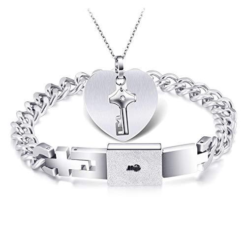[해외]【 Pmj 】 페 アアクセサリ? 쌍 쌍 목걸이 팔찌 유저의 LOVE 스테인레스 스틸 하트 크로스 체인 실버 【 선물 】 / 【pmj】Pea Accessory Pair Necklace Pair Bracelet Key Pair LOVE Stainless Steel Heart Cross Chain Silver [Perfect for Gif