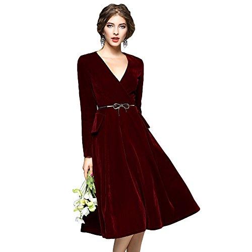 V Wine Women's DEZZAL Neck Dress Velvet Prom Red Flare Vintage Midi Long Sleeve IPFPT