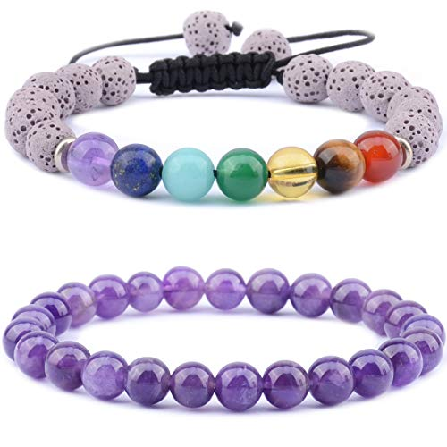 Massive Beads 7 Chakra & Lava Rock Stones Plus Amethyst - 8mm Essential Oil Diffuser - Reiki Yoga Aromatherapy Anxiety Self Confidence Relax Meditation Healing Genuine Couples - Braided Rope Bracelets