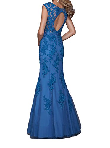 Lang Braut Marie Spitze Navy Abendkleider Ausschnitt Partykleider V Blau Brautmutterkleider Meerjungfrau Blau La Dunkel pCqnxfTwxF