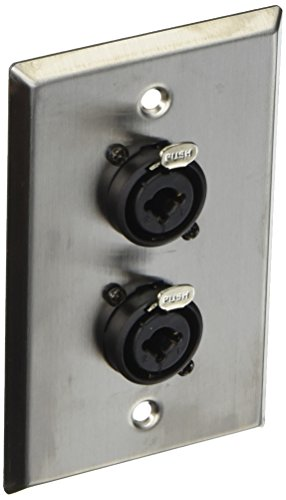 Video Combo Faceplate - Seismic Audio SA-PLATE33 Stainless Steel Wall Plate Dual 1/4-Inch and XLR Combo Jacks for Cable Installation