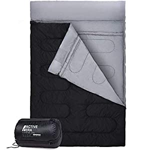 Active Era Double Sleeping Bag – Extra Large – Queen Size – Converts into 2 Singles – 3 Season for Camping, Hiking, Outdoors