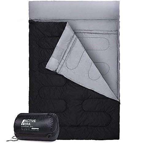 Active Era Saco de Dormir Doble. Se Convierte en 2 Sacos Individuales. Extragrande 220 x 150 cm. para Todas Las Estaciones, para Camping, Excursiones ...