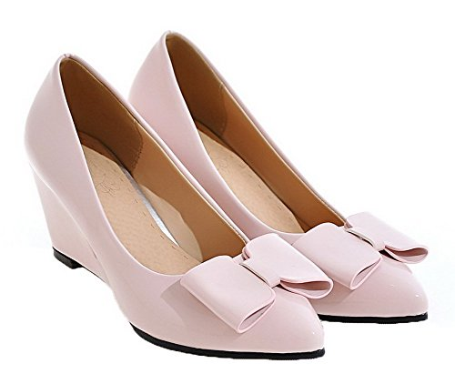 Women's Leather Shoes Pumps Kitten On Heels Patent Pink Pull Solid AllhqFashion AqYzdA