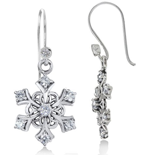 White CZ 925 Sterling Silver Snowflake Cluster Earrings