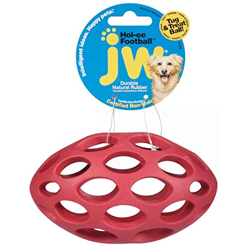 JW Pet Company Hol-ee Football Size 6 Rubber Dog Toy, Medium, Colors Vary