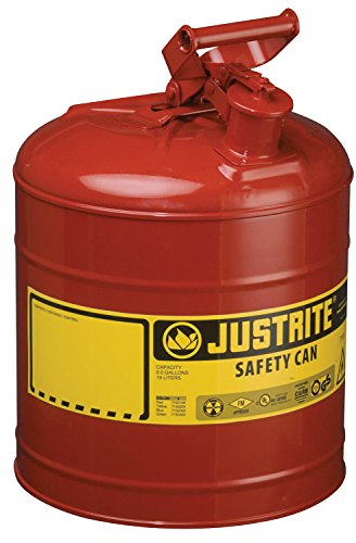 (Justrite 7150100 Type I Galvanized Steel Flammables Safety Can, 5 Gallon Capacity, Red)