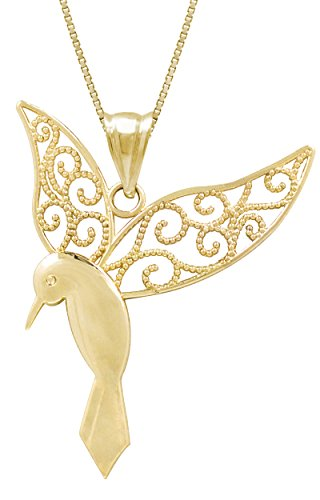 Honolulu Jewelry Company 14k Yellow Gold Humming Bird Necklace Pendant with 18