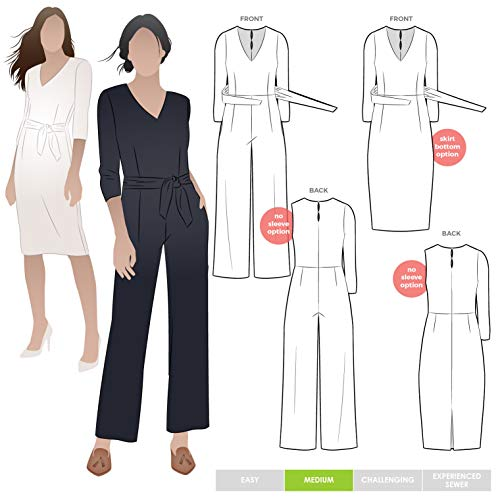 Style Arc Sewing Pattern - Brice Knit Jumpsuit (Sizes 04-16) - Click for Other Sizes Available - Jersey Silk Knit Fabric