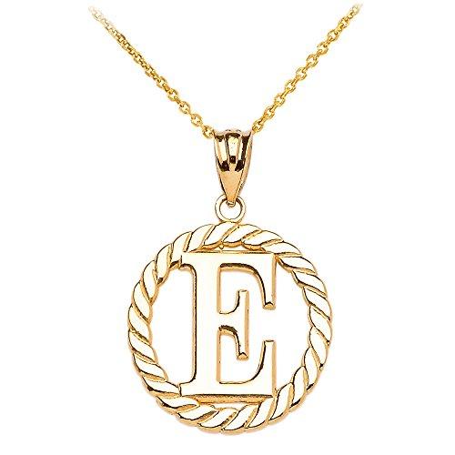 """Collier Femme Pendentif 14 Ct Or Jaune """"E"""" Initiale À Corde Cercle (Livré avec une 45cm Chaîne)"""