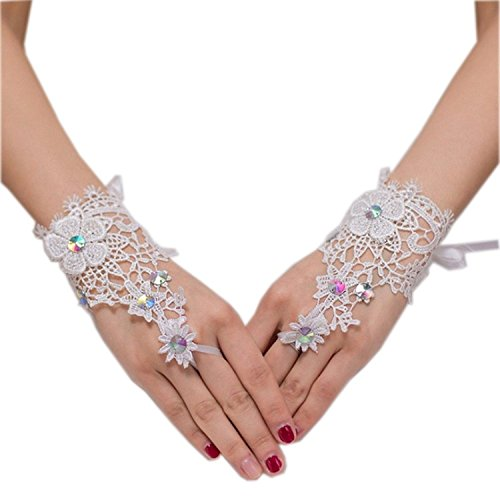 ALW Women's Fingerless Short Wedding Gloves For Bride Lace Bridal Gloves for Party ALW12031IY