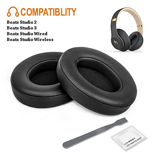 Beats Studio Replacement Ear Pads F FEYCH 2 Pieces Noise Isolation Memory Foam Ear Cushions Cover for Beats Studio 2.0 Wired/Wireless B0500 / B0501 & Beats Studio 3.0(Black)
